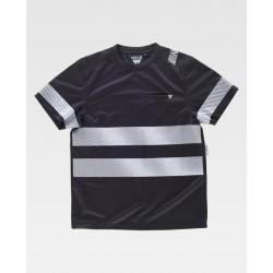 Camiseta en poliéster micropiqué con cintas reflectantes segmentadas
